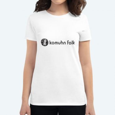 Komuhn Folk logo on a t-shirt