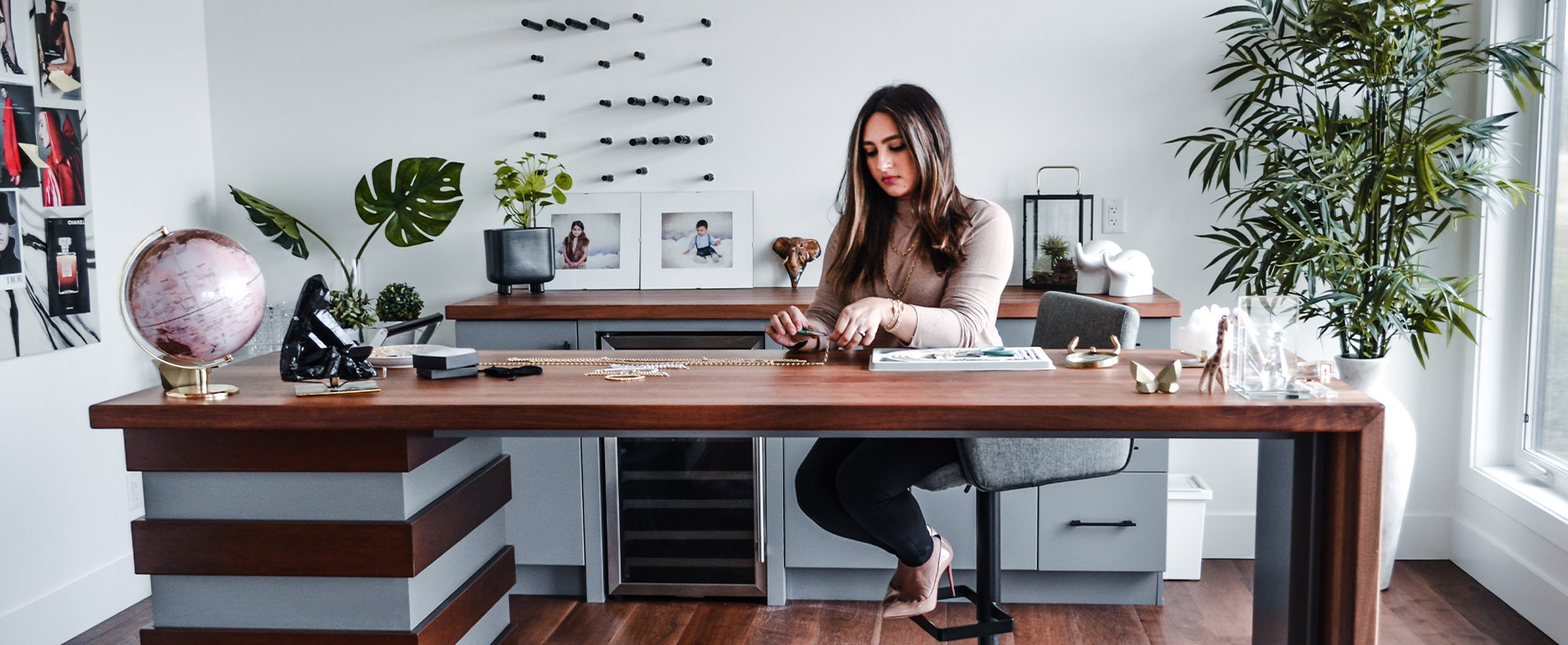A girl working on her Jewelry Design